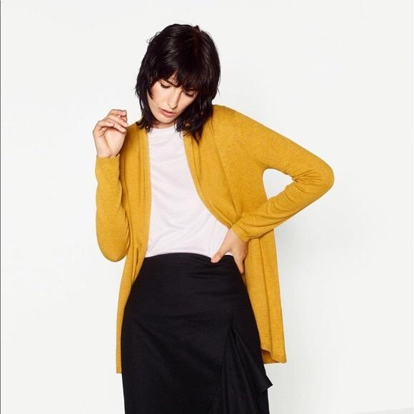 67cffb8a314 NWT Zara Mustard Yellow Soft Knit Draped Cardigan